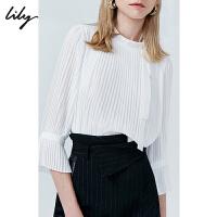 【不打烊价:254元】 Lily2019秋新款气质飘带半高领宽松雪纺衫套头白衬衫女8937
