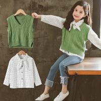 女童套装毛衣马甲衬衫洋气时髦两件套中大童装秋季