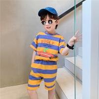 【2件2折】左西童装男童夏装套装儿童条纹网红洋气中大童2021新款夏天时髦潮