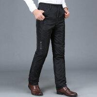 新款中老年羽绒裤男士商务休闲可脱卸内胆加厚外穿男士棉裤 黑色 D09款