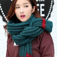 韩版围巾女冬季纯色长款粗毛线女士围脖针织加厚百搭秋冬保暖围巾