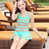 新款女大童泳衣分体游泳衣女儿童少女孩学生裙式平角保守泳衣