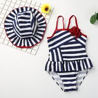 儿童泳衣连体裙式新款可爱大小女童宝宝泳装女孩子婴幼游泳衣 条纹连体(带花)