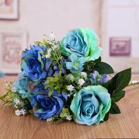 玫瑰花假花高仿真花束客厅摆件家居干花装饰花绢花插花装饰品