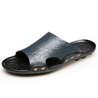男士真皮拖鞋男防滑潮凉鞋特大码4748沙滩鞋男鞋夏季一字拖鞋室外