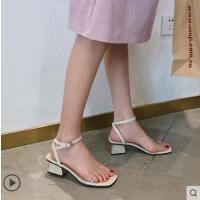 户外新品网红同款新款超火搭配裙子的凉鞋女学生百搭时尚中跟粗跟仙女鞋