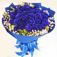 蓝色妖姬仿真花蓝红玫瑰鲜花花束礼盒鲜花情人节 不含花瓶