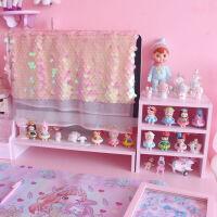 粉色少女心笔记本电脑显示器屏幕增高架子木质办公桌面收纳置物架