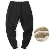 冬季运动裤男加厚加绒羊羔绒裤子保暖卫裤修身束脚男士休闲裤小脚