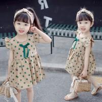 女童连衣裙夏季新款公主裙宝宝小飞袖裙子童装圆点背心裙