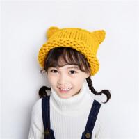 女童秋冬纯手工针织宝宝毛线帽子可爱耳朵帽子潮