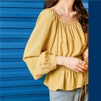 七格格泡泡袖衬衫女2020新款夏季韩版长袖气质百搭宽松洋气上衣潮