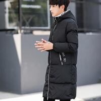 20180323130247795冬季学生青少年棉袄潮棉衣男中长款男士加厚韩版修身外套大衣 黑色