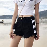 夏季新款女装织带拼接破洞毛边宽松显瘦学生阔腿牛仔短裤女热裤
