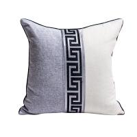 新中式风棉麻抱枕客厅沙发靠垫样板间靠枕卧室床头大靠背软装布艺T