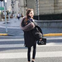 冬装韩版超大毛领保暖工装棉衣女中长款棉袄外套