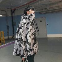 秋新品韩版男士青少年学生港风迷彩套头夹克男情侣连帽时尚 迷彩色