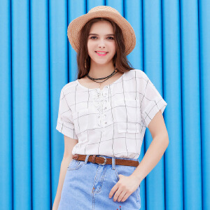 ZDORZI卓多姿夏装显瘦雪纺格子口袋系带短袖衬衫女732146