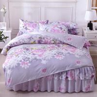 新款床罩床裙四件套纯棉裙式简约大气被套防滑欧式全棉碎花边床套 2.0*2.2床裙 2*2.3被套 四件套