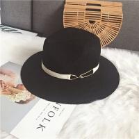 帽子女夏天黑色遮阳度假巴拿马草帽夏季英伦韩版宽檐沙滩爵士礼帽 可调节