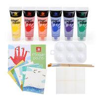 儿童节礼物 男孩儿童宝宝益智早教儿童可水洗画画颜料 宝宝涂鸦套装手印画6色手指画 6色手指画