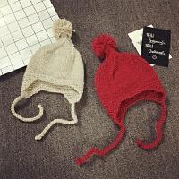 儿童手工毛线帽针织帽大毛球冬天护耳帽男女宝宝帽子6--24个月