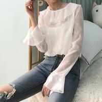 女装2018春装新品性感透视立体花朵喇叭袖镂空上衣打底长袖雪纺衫