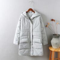 L4韩版 女冬季外套 棉袄学生过膝面包服 情侣棉衣女中长款1.3