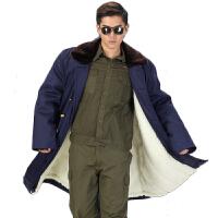 防寒服军大衣男加厚加长款仿羊毛藏蓝色棉大衣劳保军大衣 蓝色毛大衣 标准均码 衣长1.2米