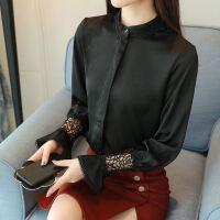 雪纺衫女长袖18春装新款版蕾丝小衫立领宽松上衣喇叭袖女衬衫