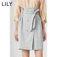LILY 女装H型双排扣系腰带高腰短裙半身裙120140C6217