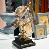 欧式装饰工艺品房间软装客厅卧室酒柜办公室书房地球仪摆件水晶球 水晶地球仪