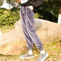 秋冬季金丝绒裤加绒运动裤女裤香蕉裤哈伦裤长宽松休闲加厚卫裤 S 适合【85到98斤】