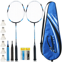 羽毛球拍 C8 碳素男女耐打训练单双拍 (已穿线) 2支装 蓝色-送赠品