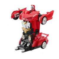 儿童男孩模型玩具电动汽车音乐万向仿真法拉利自动变形金刚大黄蜂趣味玩具 变形车