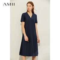 【2折叠券预估价:143元】Amii赫本复古气质收腰连衣裙2020夏季新款遮肚绑带黑色雪纺字裙