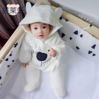 婴儿童连体衣服0岁3个月女宝宝棉衣新生儿秋冬装冬季哈衣秋季秋装
