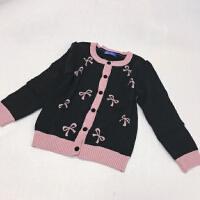 春款女童女宝宝毛衣开衫 棉线蝴蝶结烫钻开衫针织衫
