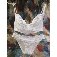 欧美女士文胸罩性感蕾丝刺绣大花透明少女白色内衣套装诱惑