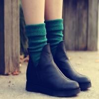 日韩袜子女中筒堆堆袜女粗线袜可爱复古民族风长筒短靴棉袜子 纯色 绿色 均码
