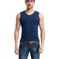 男士背心纯棉宽肩V领青年运动弹力透气跨栏修身健身打底汗衫