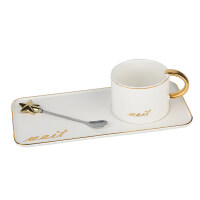 马克杯女男大理石二次元野兽派咖啡杯套装欧式陶瓷家用燕麦杯早餐杯牛奶杯子情侣一对简约马克杯配勺子托盘