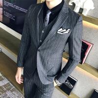 秋冬新品条纹西装男士西服套装韩版修身婚礼服发型师夜店潮流