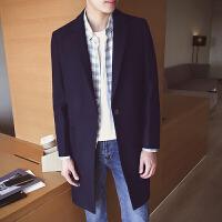 秋冬季新款男士中长款风衣韩版修身呢子外套潮流纯色毛呢大衣 藏青色 M