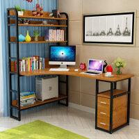 永诺简约转角台式电脑桌卧室书桌书柜书架组合现代写字台学习桌子