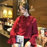 春季女装韩版气质小清新荷叶边飘带荷叶袖长袖衬衫打底衬衣上衣潮