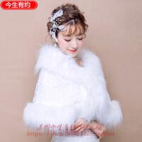 韩式新款新娘毛披肩结婚配饰品斗篷白色婚纱礼服小外套春秋冬 白色