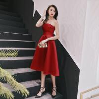 缎面敬酒服新娘2018新款结婚订婚红色小礼服回门连衣裙抹胸中长款 酒红色 X
