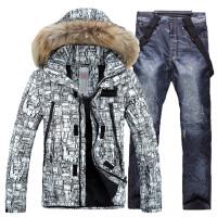 户外男款滑雪服套装 加厚抗寒 单双版滑雪衣裤男款 滑雪裤防水男