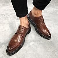 新款男士皮鞋黑色正装潮流百搭休闲发型师鞋透气英伦韩版婚鞋